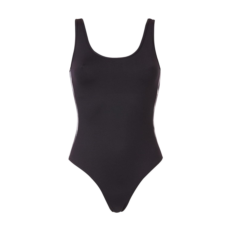 c1d8eb5c78 MONOPRIX FIT' - Maillot de bain 1 pièce dos nageur et bandes imprimé  géométrique - Femme - Taille : 40 - Couleur : NOIR IMP: Amazon.fr:  Vêtements et ...