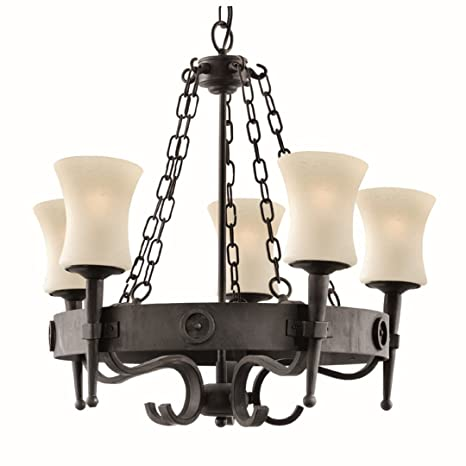 Rústica Lámpara de techo en blanco y negro 5 x E27 hasta 60 ...
