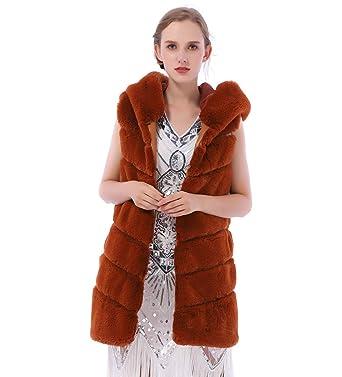 804569ef079 Dikoaina Women s Faux Fox Fur Vest Sleeveless Long Fur Jacket Waistcoat  Warm Coat Outwear (M