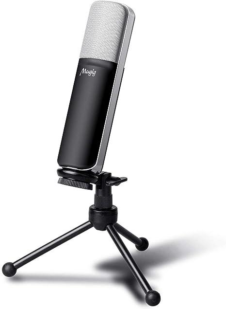 Mugig Microfono Condensador USB para PC Ordenador Portátil con ...