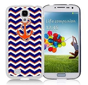 Popular Design S4 Case,Chevron Pattern Blue With Anchor Black Plastic Case Samsung Galaxy S4 Case,Unique Design Galaxy S4 Case