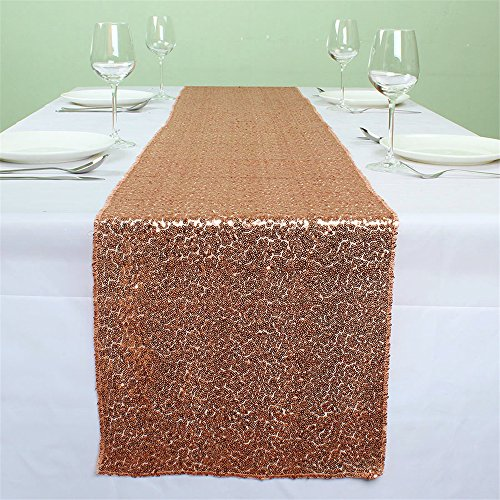 SoarDream Sequin Table Runner, Sequin Table Cover, Sequin Table Cloth Rose Gold (50 Rose)