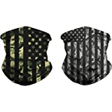 2 Pcs American Flag Outdoor Face Mask- Multifunctional Seamless Microfiber American Flag UV Protection Face Neck Shields Headwear for Men&Women Motorcycle Hiking Cycling Ski Snowboard(ArmyGreen+black)