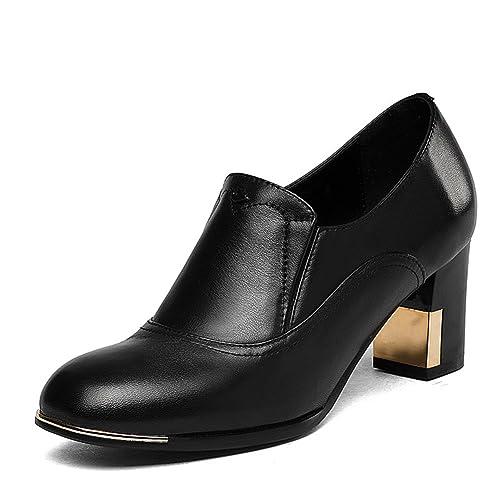 Zapatos de tacón Caer Espeso con Zapatos Oscuros/Peluca Pies Las Mujeres Alto Cuero Círculo