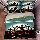 Deluxe Zombie Happy Halloween Cotton Microfiber 3pc 90''x90'' Bedding Quilt Duvet Cover Sets 2 Pillow Cases Queen Size