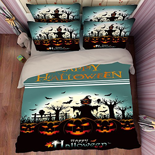 Deluxe Zombie Happy Halloween Cotton Microfiber 3pc 80''x90'' Bedding Quilt Duvet Cover Sets 2 Pillow Cases Full Size by DIY Duvetcover