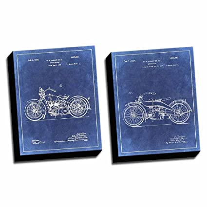 image unavailable  image not available for  color: set of 2 antique harley  davidson motorcycle diagrams