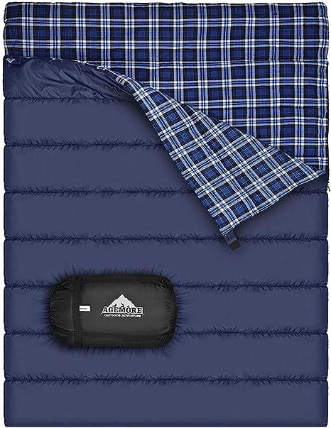 Saco de dormir doble de la franela del algodón para acampar, hacer ...
