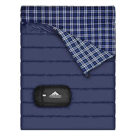 Saco de dormir doble de la franela del algodón para acampar, hacer excursionismo, o caminar. Saco de dormir impermeable Queen Size XL Cold Weather 2 ...