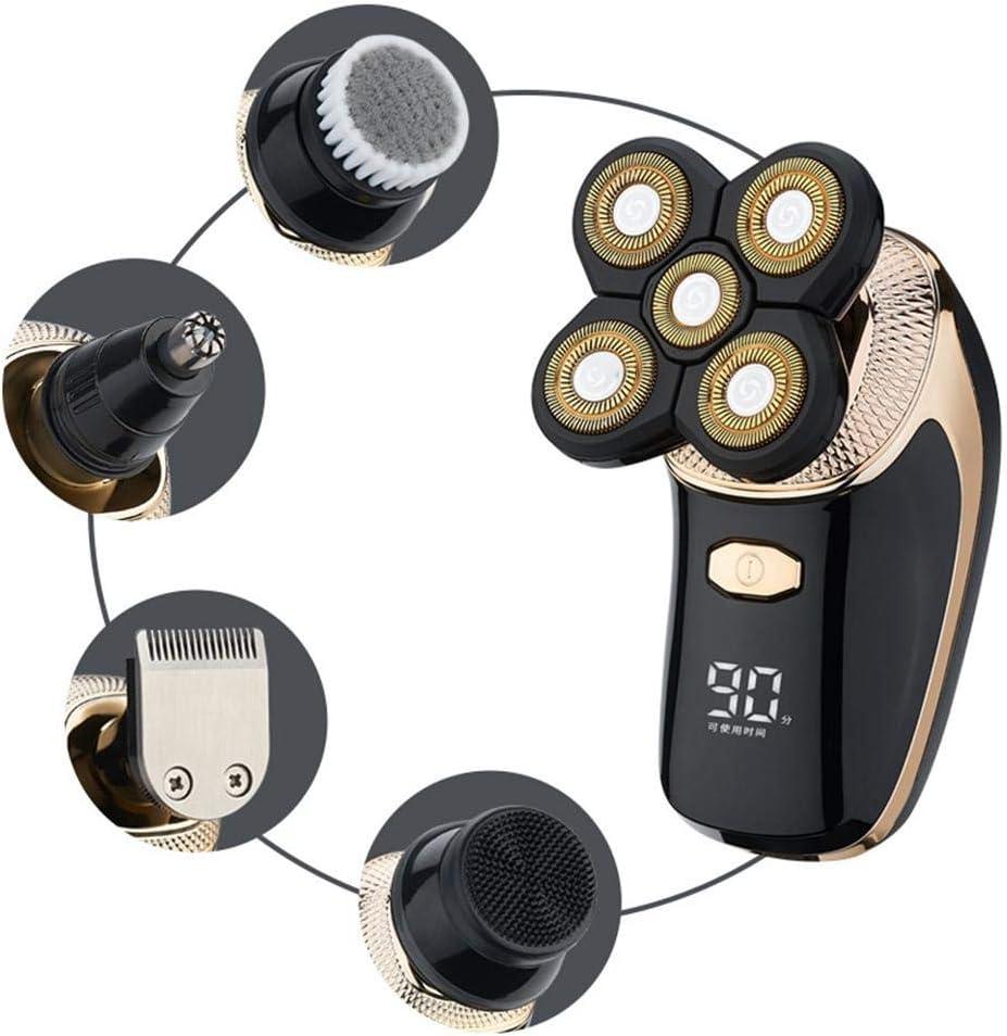 Maquinilla de afeitar eléctrica para hombres, nuevo 5 en 1 IPX6 impermeable 5D Rotary Shaver Trimmer Grooming Kit con pantalla LED, afeitadora USB recargable de cabeza calva con 5 cabezales flotantes: Amazon.es: Hogar
