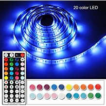 Battery Powered Led Strip Lights with 44 Keys RF Remote, Imenou USB Battery Operated Flexible Waterproof Colorful RGB Led Light Strip Decorative Tape Lighting for Home Kitchen TV Backlight (2M/6.56ft)