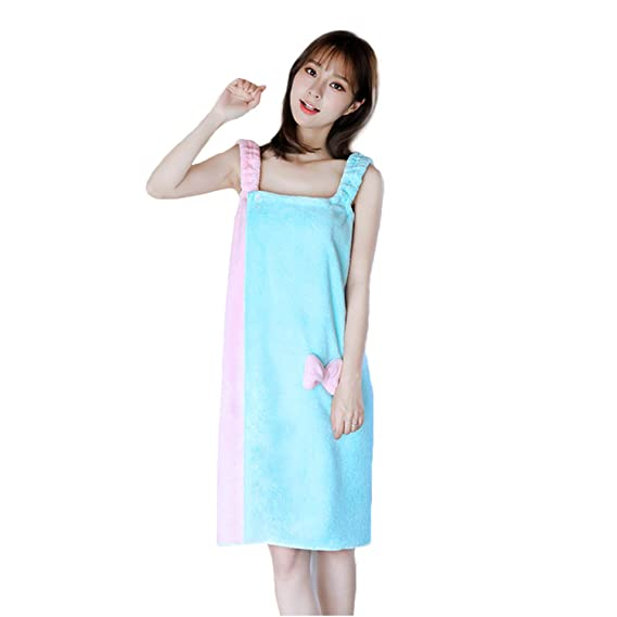 6d18587f98 Women Bathrobe Set Girl Bath Towel Ladies Sleeveless Nightdress Beach Terry  Large Bowknot Body Wrap Absorbent Lightweight Spa Skirt Gown Cosy Elastic  ...