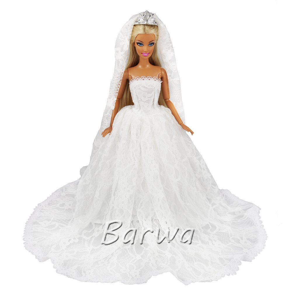 BARWA White Wedding Dress with Long Veil Evening Party Princess White Lace Gown Dress for 11.5 Inch Girl Doll