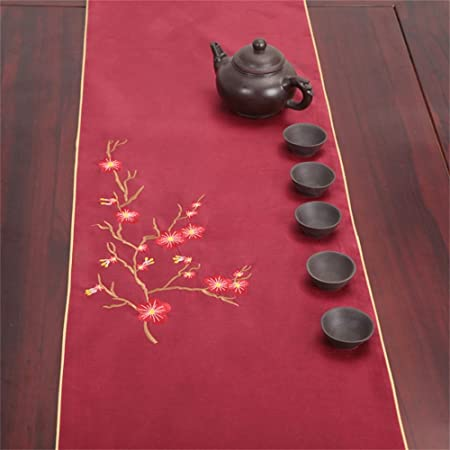 Shopping  Cloth Art Embroidery Table Runner Japanese Chinese ( Color : Wine  Red , Size
