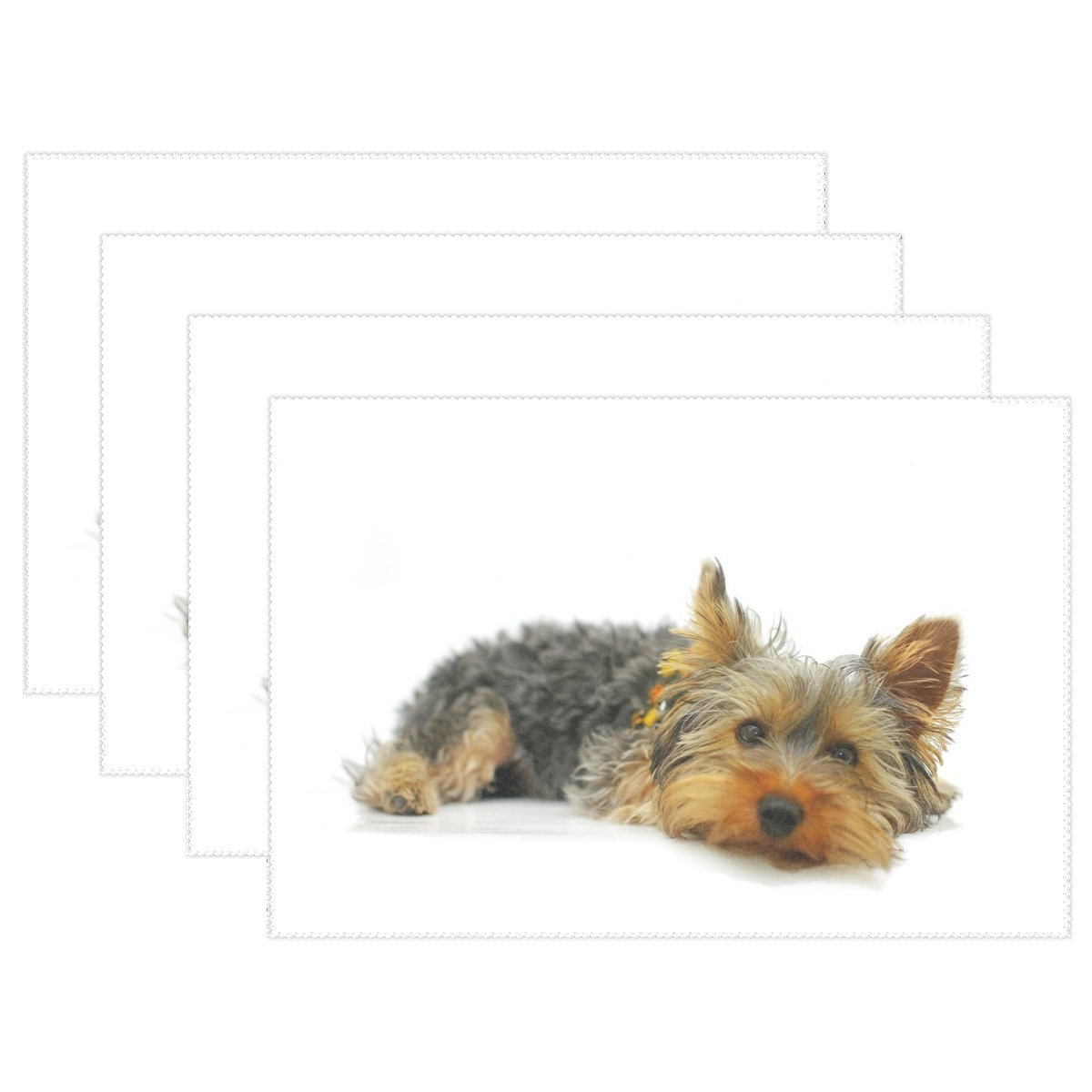 QYUESHANG Animal Dog Yorkshire Terrier Yellow Black Mix Pet Small Fluffy Heat-resistant Table Placemats Set Of 4 Stain Resistant Table Mats Washable Eat Mat Home Dinner Decorative