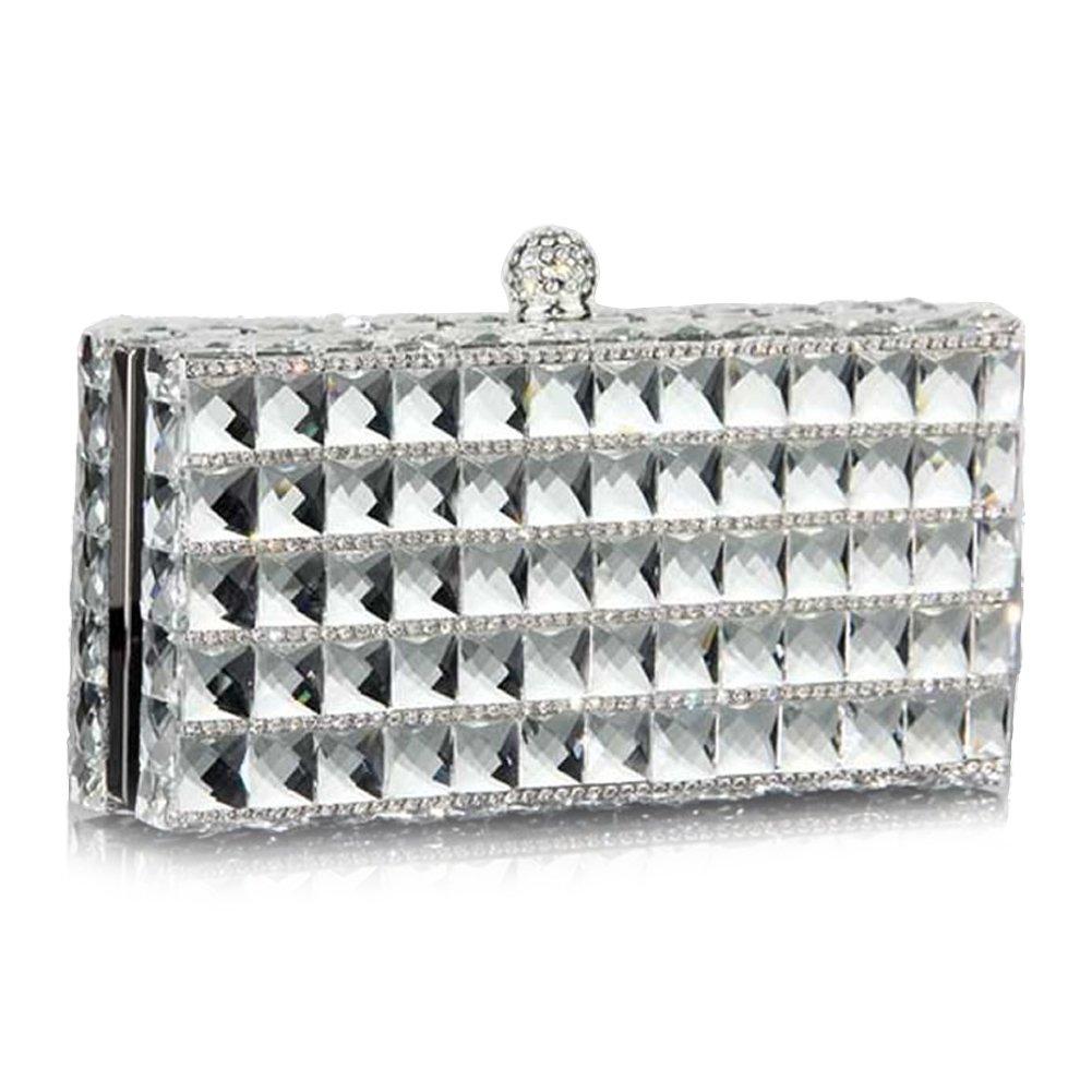 IBELLA Women Evening Clutch Purse Bag Rhinestone Crystal Glass Crossbody Shoulder Handbag (White)