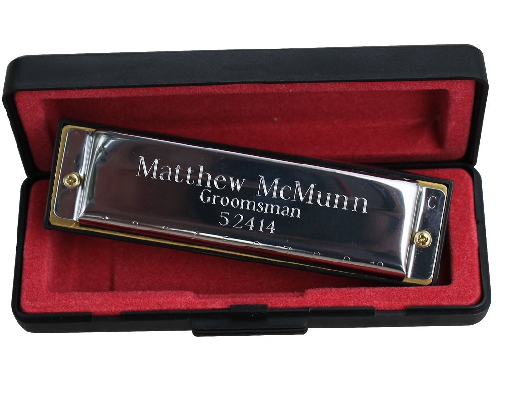 Custom Personalized Stainless Steel Hohner Harmonica - Ring Bearer Groomsmen Gift - Engraved and Monogrammed for Free