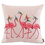 Best Cotton Pillow With Flamingos - JES&MEDIS Party Flamingos Pillow Cover Linen Cotton Decorative Review