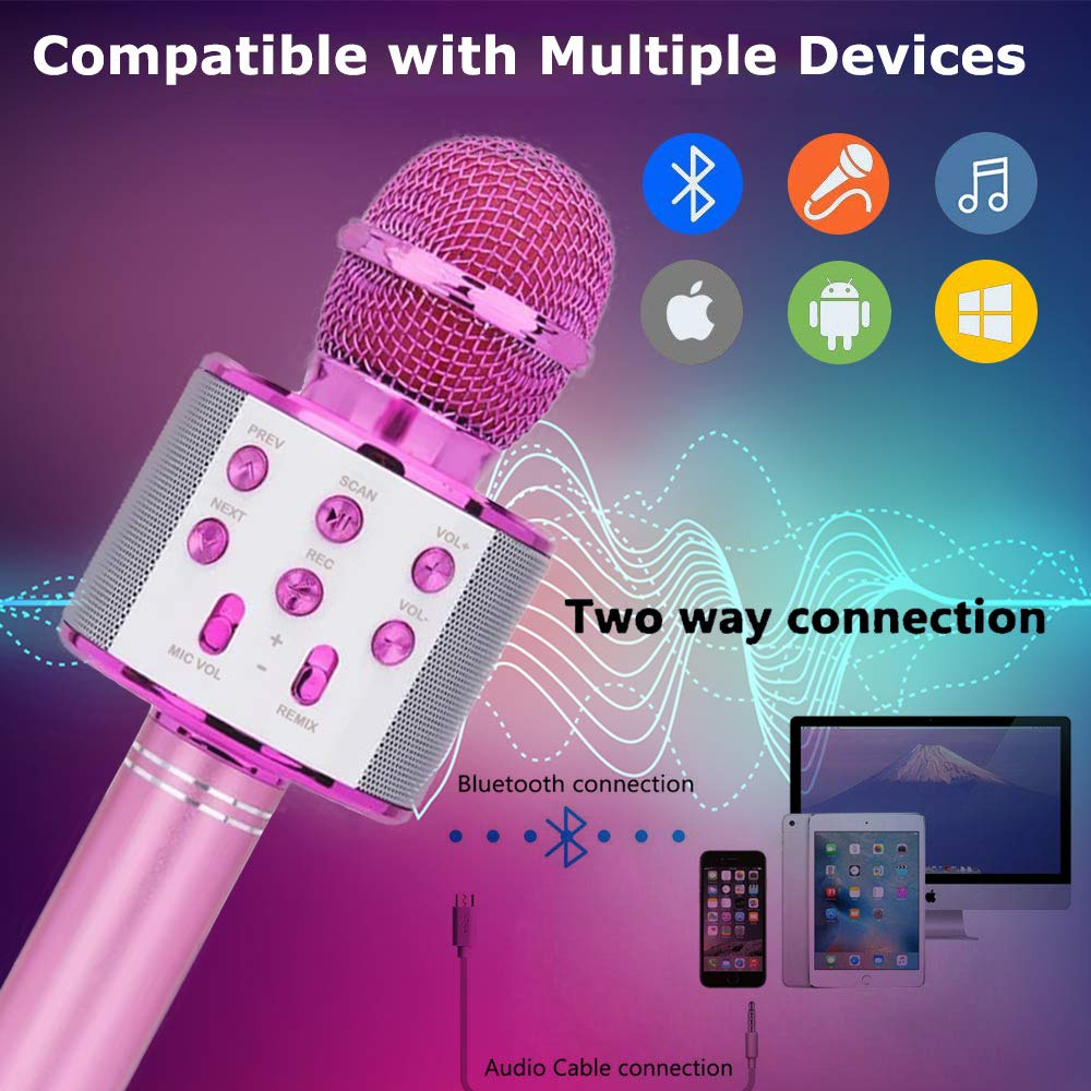 Toys For 5-14 Years Old Girl Gifts,Niskite Wireless Bluetooth Karoake Microphone For Kids Age 4-12,Best Fun Birthday Gifts For 6-13 Years Teens Girls Boys Purple by Niskite (Image #2)