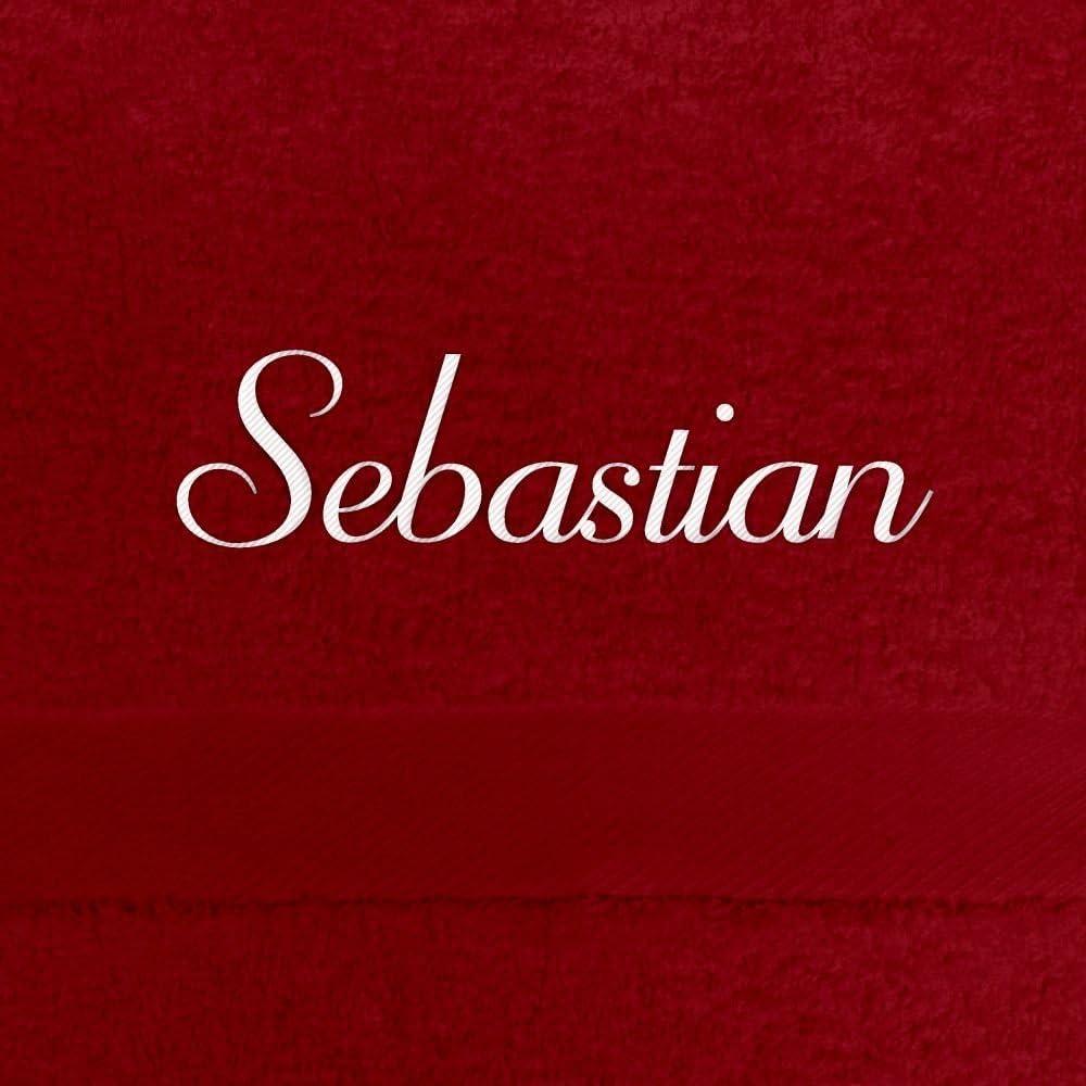 70x140 cm Badetuch mit Bestickung dunkelblau Badehandtuch mit Namen Sebastian bestickt Handtuch mit Namen besticken 100/% extra flauschige 550 g//qm Baumwolle