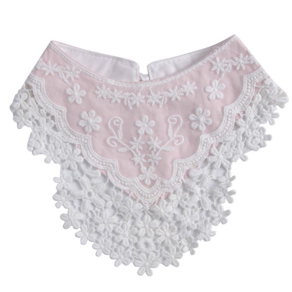Lovely Infant Baby Boys Girls Lace Triangle Saliva Towel Dribble Fedding Bib Scarf (Pink)