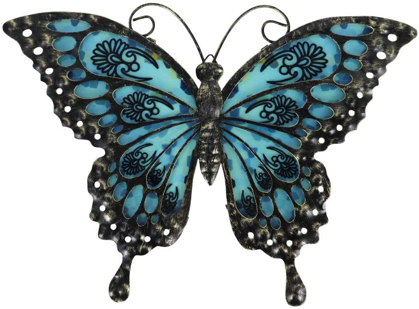 Liffy Metal Butterfly Wall Decor OutdoorIndoorMetal Wall Art ButterflyHanging DecorationsMetaland Glass Garden Theme Home Decorations for GardenLiving RoomBedroom (Black)
