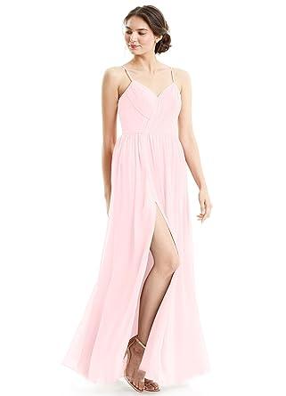 68d0d201dec3 MythLove Women's A-Line V-Neck Strap Soft Chiffon Pleated Simple Bridesmaid  Dress Blush