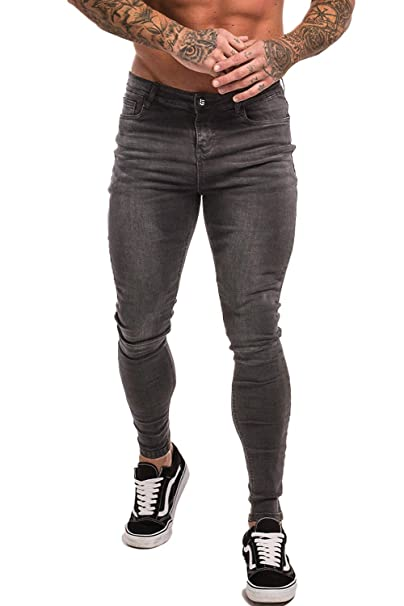 a81a003c GINGTTO Men Jean Jogger Pants Skinny Stretch Jeans for Men Slim Fit Grey 28