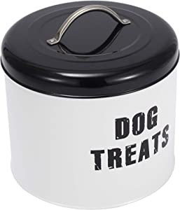 Brabtod White Farmhouse Dog Food Canister, Decorative Kitchen Food Storage Holder for Dog Treat Container bin and Food-White-dogtreats