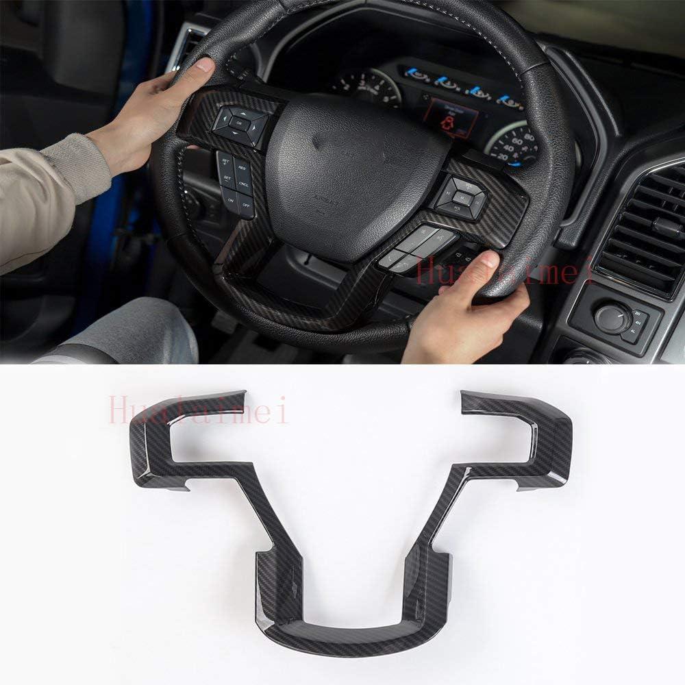 F150 Carbon fiber ABS Car Steering Wheel Cover Trim,Car Interior Trim,Steering Wheel Decorative Cover Trim for Ford F150 2015-2017