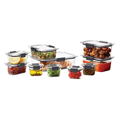 Rubbermaid Brilliance Food Storage Container, 20-Piece Set, 100% Leak-Proof, Plastic, Clear
