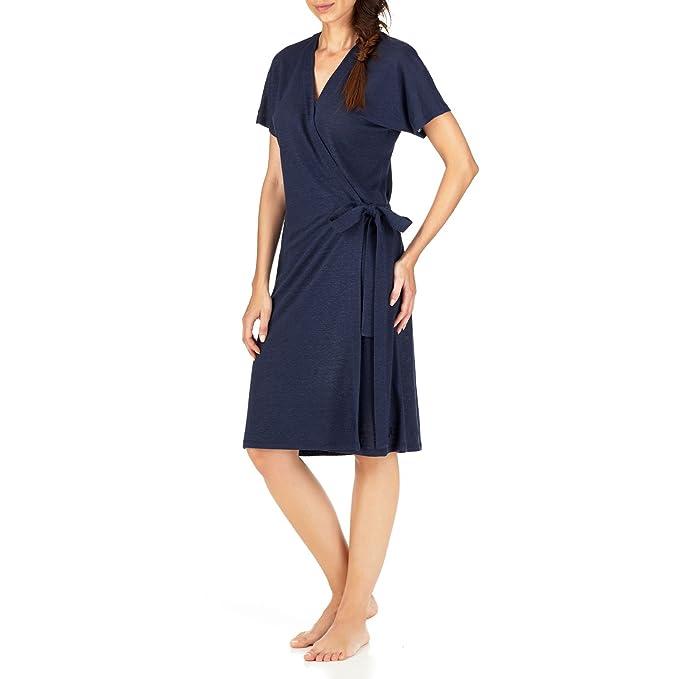 VILEBREQUIN - Vestido Envolvente de Lino Liso - Azul Marino - S