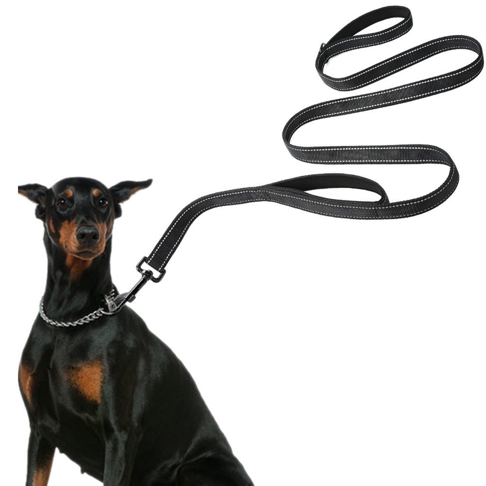 Black Coopts Heavy Duty Nylon Dog Leash for Large and Medium Dogs, 2 Handles for Extra Control, 5 FT Long with Reflective Stitch for Train Night Walking Black