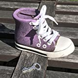 The Baby Chuck High Top Sneaker Bank in Purple, High Top, Iconic Converse-Style, Laces, Key, Lock Removable Stopper Plug, Coin Slot, Ceramic, 3 1/2 Inches Tall, By Whole House Worlds