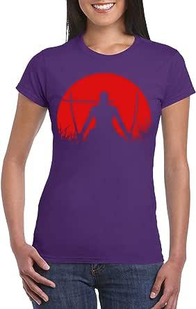 Purple Female Gildan Short Sleeve T-Shirt - Zoro – Half Circle - Red design