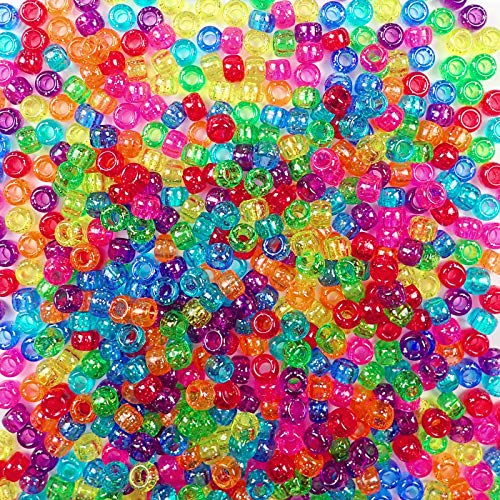 Sparkling Glitter Rainbow Multicolor Mix Plastic Craft Pony Beads, 6x9mm, 1000 -