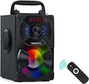 TENMIYA A13 Portable Bluetooth Speaker with Subwoofer, FM Radio, RGB Colorful Lights Wireless Stereo Rich Bass Speakers Outdoor/Indoor Party Speaker Support Remote Control for Home, Travel, Camping