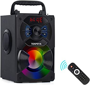 TENMIYA A9 Portable Bluetooth Speaker with Subwoofer, FM Radio, RGB  Colorful Lights Wireless Stereo Rich Bass Speakers Outdoor/Indoor Party  Speaker