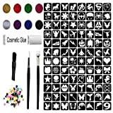 Glitter Tattoo Kit - New Designs Girls & Boys 96 Stencils Brushes 8 Glitter 100 Gems Waterproof Adhesive (Complete Kit 9.)