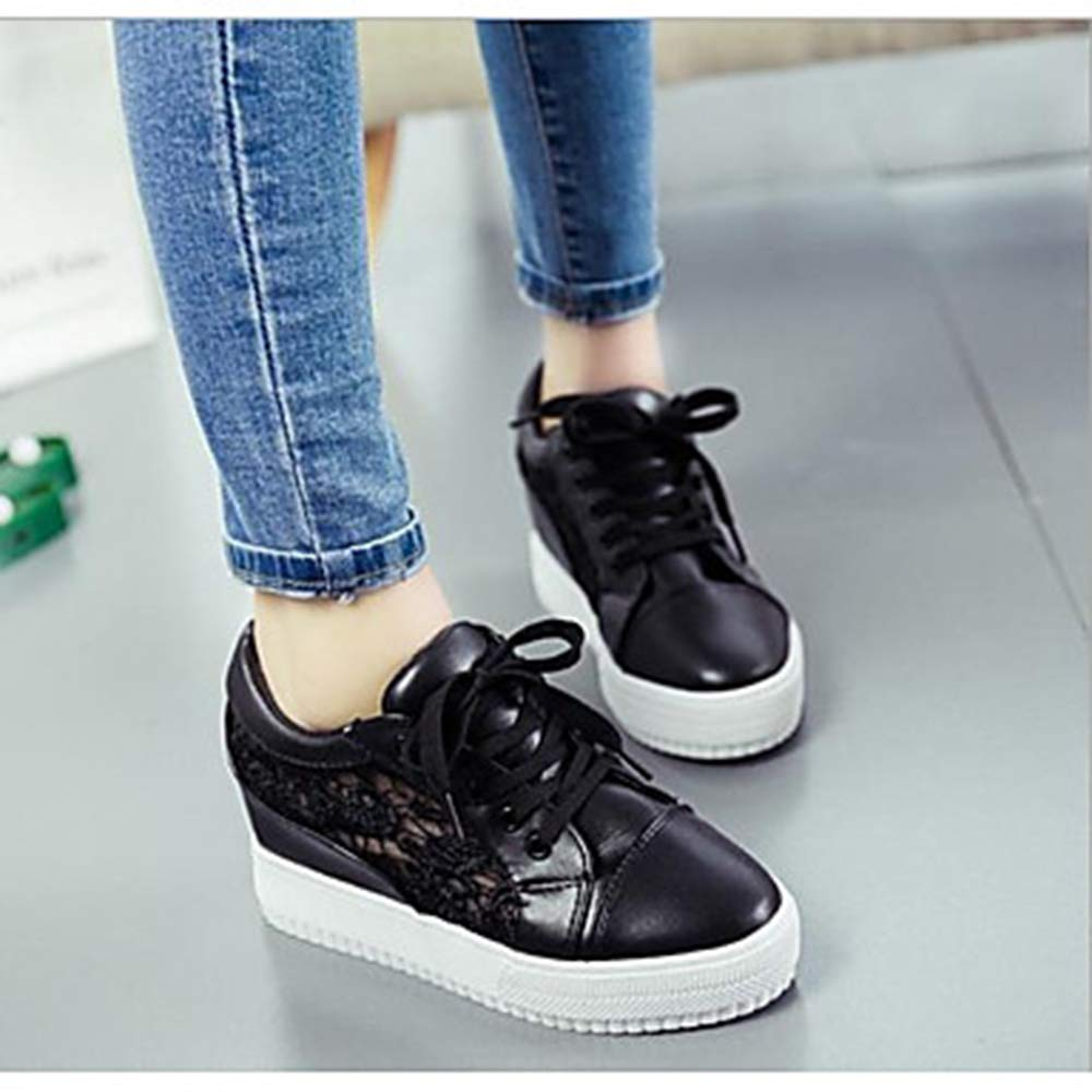 TTSHOES Damen Komfort Schuhe Tüll Frühling Sommer Komfort Damen Sneakers Flacher Absatz Runde Zehe Weiß/Schwarz Black 45f677