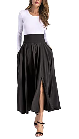 5b1bbb7eb6 Hanlolo Ladies Prom Skirts High Waisted Pleated Flared Swing Maxi Party  Skirts Black 4