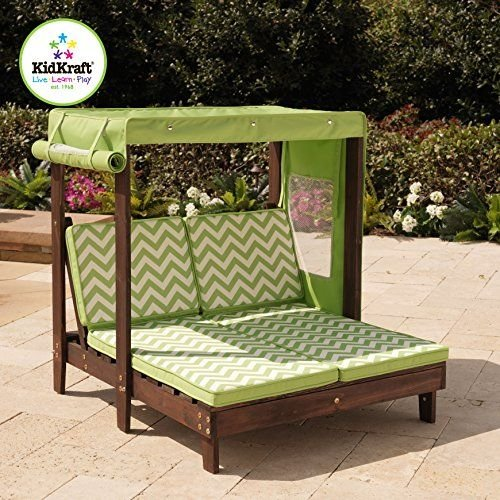 Kidkraft outdoor double chaise lounge chair with canopy for Canopy chaise lounge