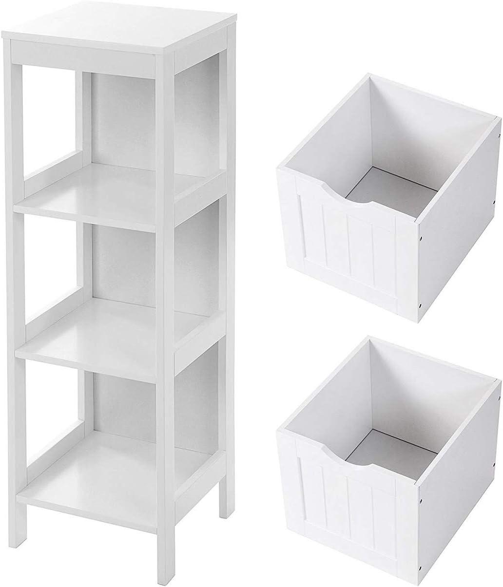 Brown UBBC42BR VASAGLE Floor Cabinet Multifunctional Corner Unit 2 Drawers Bathroom Storage Organizer Rack Stand