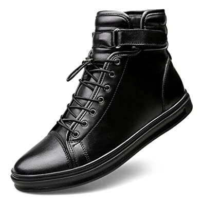 Lewhosy Mens Black High Top Winter Boots Leather Chelsea Boot Ankle Boot  Waterproof Casual Fashion Shoes 39c2d93c7c65