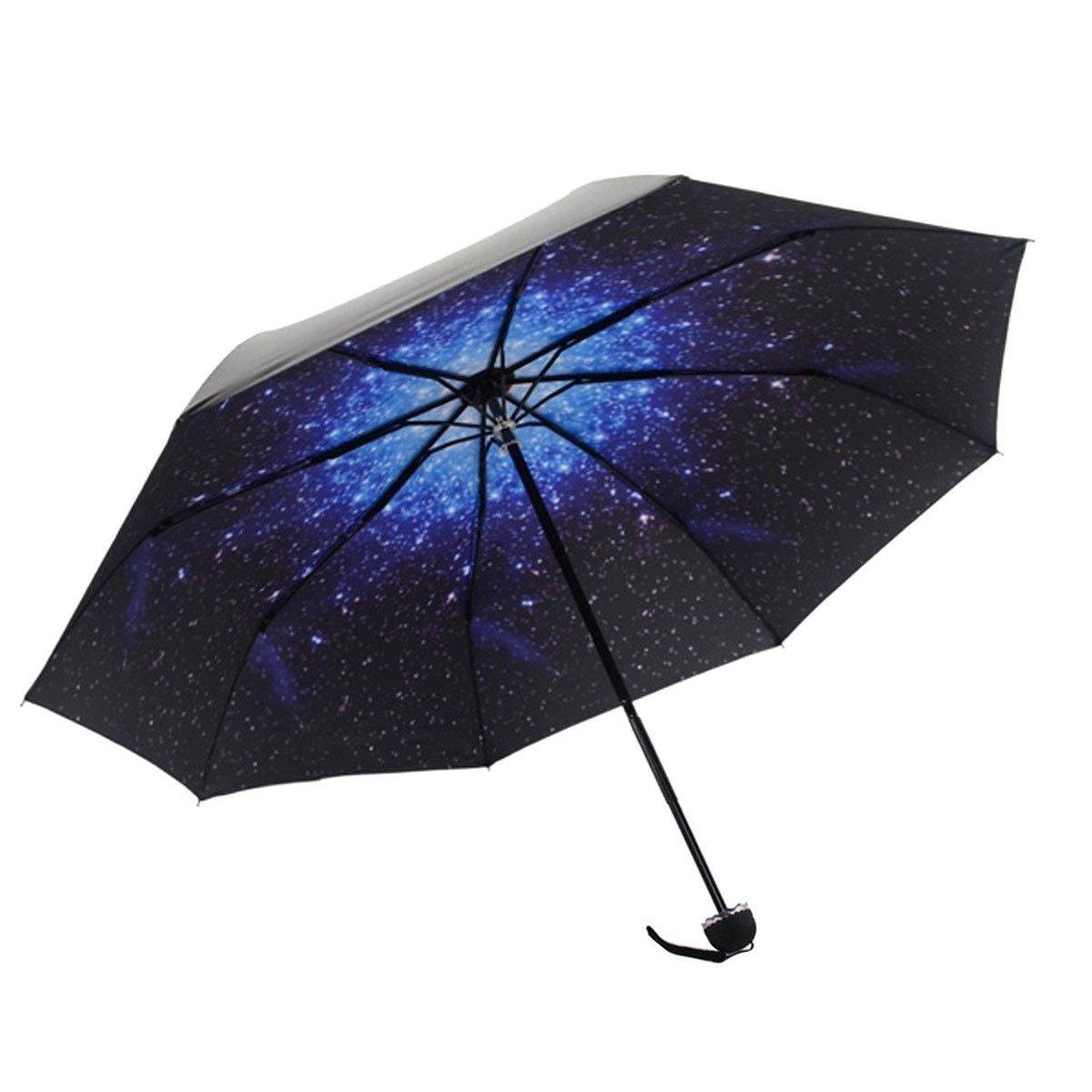 Sumdreams Starry Night Automatic Folding Umbrella Windproof Anti UV Rain Sun Umbrella