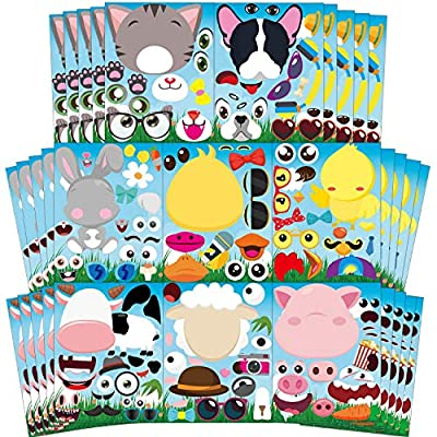Ticiaga 40pcs Farm Animal Make-a-face Kids Stickers Sheets, Make Your Own Farm Animal Stickers Fun Craft Project for Kids, 36pcs Barnyard Animal Mix and Match Stickers Kids Party Favor, Class Reward: Arts, Crafts & Sewing