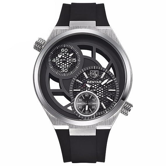 mastop Mens relojes reloj de cuarzo dial de gran diseño único de esqueleto resistente al agua