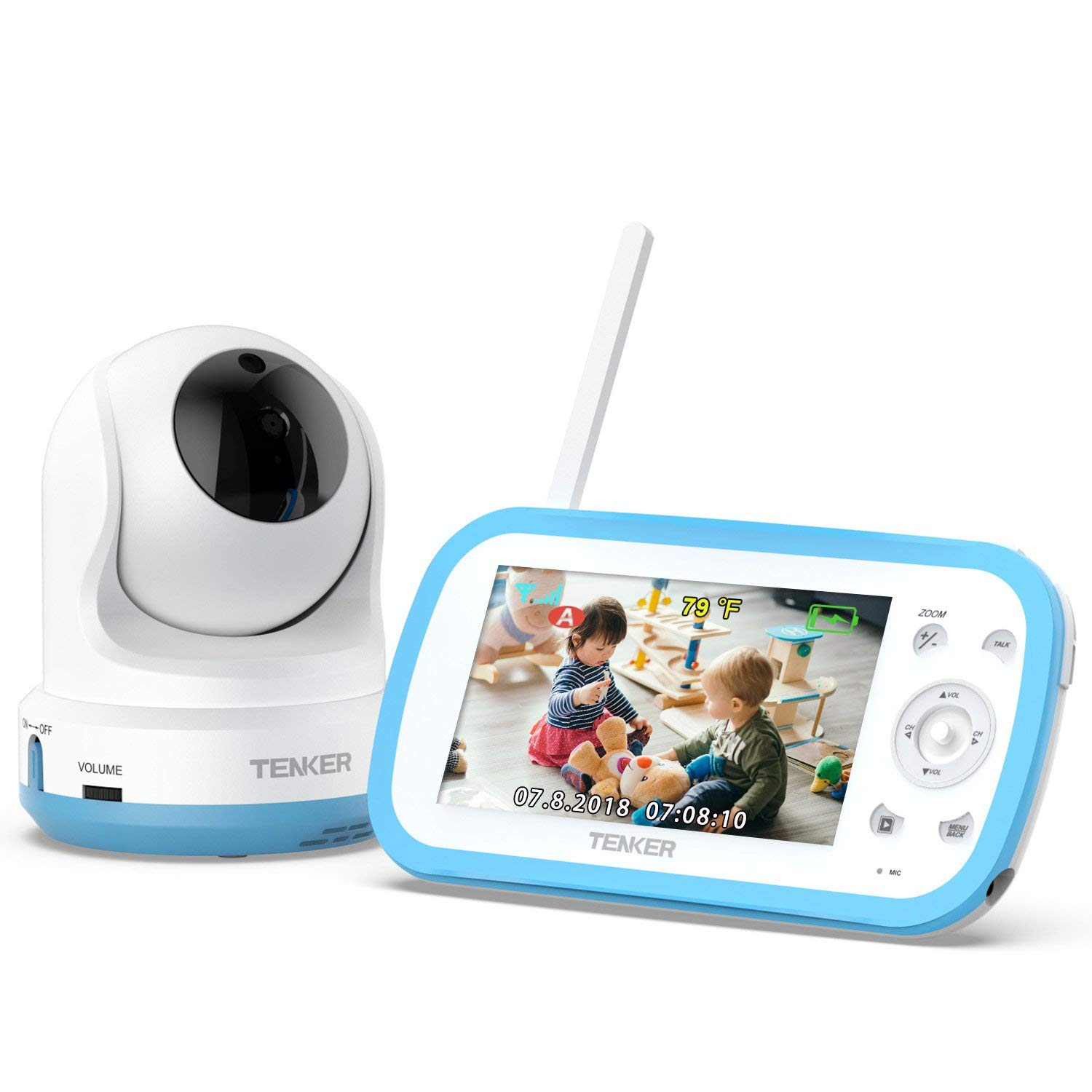 TENKER Video Baby Monitor with Camera and Audio, Baby Monitor with Night Vision, 4.3-Inch LCD Screen, 270°Pan-Tilt-Zoom, VOX, Lullaby, Two Way Talk, Temperature Detection, and Video Record (Blue-1) by TENKER
