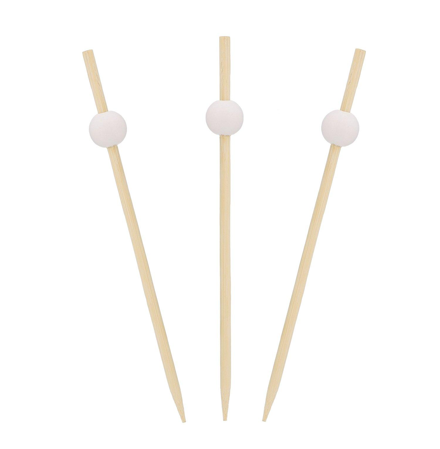 Royal 4.75'' White Bamboo Ball Picks, Package of 100