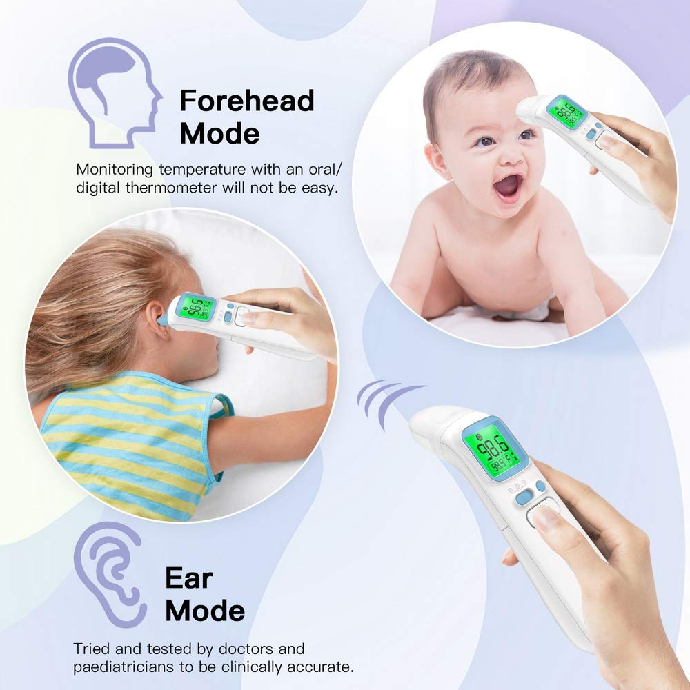 Tricolor Fever Alarm 89.6/ºF 109.2/ºF. Forehead and Ear Thermometer,No Contact Digital Infrared Professional Thermometer,40 Memory Recall